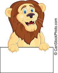 leone, vuoto, cartone animato, segno