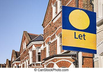 "let"", segno, tipico, spazio, red-brick, west-london., casa a schiera, "", copia"