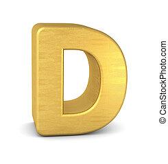 lettera, d, oro, 3d
