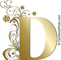 lettera, d, oro, capitale