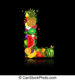 lettera, frutta, succoso, forma, l