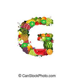 lettera, frutta, succoso, g