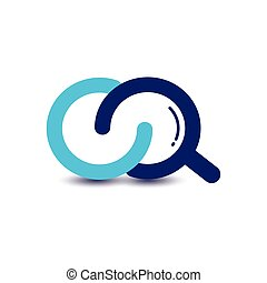 lettera, iniziale, modellato, eq, vetro, ingrandendo