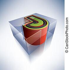 lettera, j, alphabet:, 3d, capitale