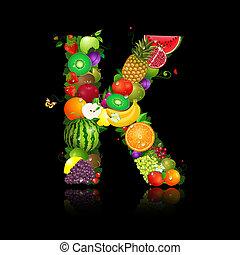 lettera k, frutta, succoso, forma