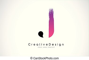 lettera, logotipo, disegno, rosa, spazzola, j, stroke., creativo, viola