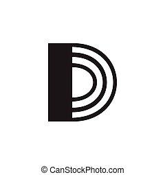lettera maiuscola, d, vettore, logotipo, zebrato