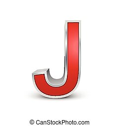 lettera, metallico, rosso, j, 3d