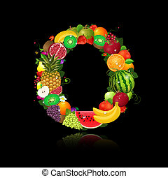 lettera, o, frutta, succoso, forma