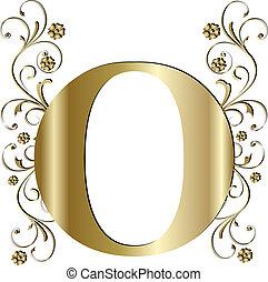 lettera, o, oro, capitale