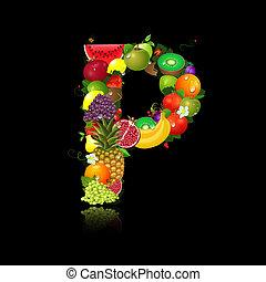 lettera p, frutta, succoso, forma