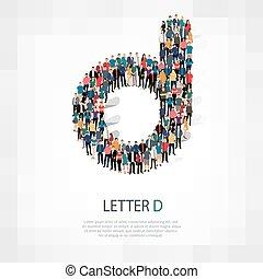 lettera, persone, vettore, d, gruppo, forma