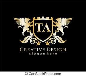 lettera, sagoma, leone, iniziale, reale, ta, logotipo