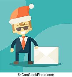 lettera, uomo affari, hat., news., lettere, buono, claus, natale, santa, felice