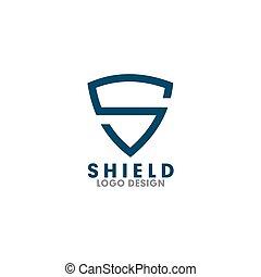 lettera, vettore, sagoma, scudo, logotipo, disegno, s