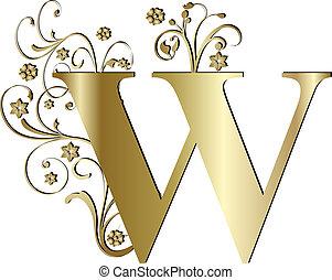 lettera, w, oro, capitale