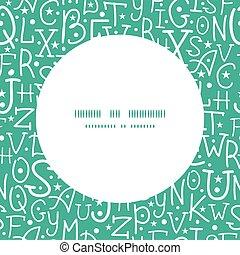 lettere, alfabeto, cornice, seamless, vettore, sfondo verde, modello, bianco