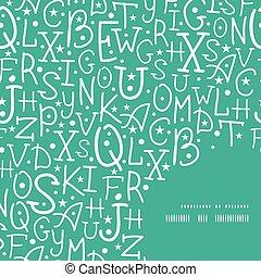 lettere, alfabeto, cornice, vettore, sfondo verde, modello, angolo, bianco