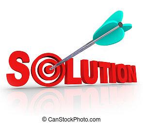 lettere, bersaglio, bulls-eye, soluzione, risolvere, freccia, parola, problema, 3d