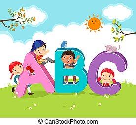 lettere, cartone animato, bambini, abc