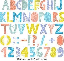lettere, divertimento, colorito