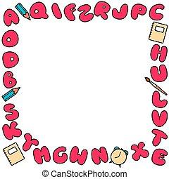 lettere, frame., bambini, iscrizioni, colorato, alfabeto, set, design., luminoso, variopinto, bolla, abc
