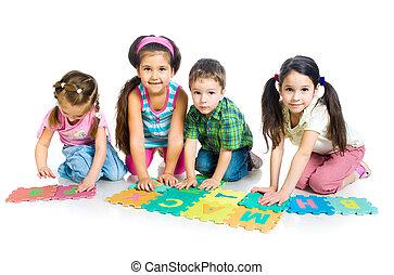 lettere, gioco, bambini
