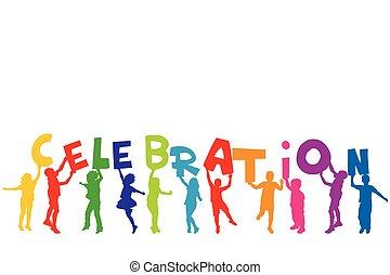 lettere, gruppo, silhouette, presa a terra, parola, bambini, celebrazione