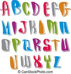 lettere, manoscritto, alfabeto, calligraphic, set, vettore, font.