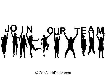 lettere, presa a terra, persone, unire, silhouette, parole, squadra, nostro