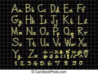 lettere, scritto, mano, penna, disegnato, font