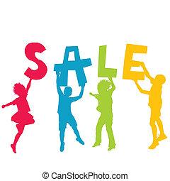 lettere, vendita, silhouette, tenere mani, messaggio, bambini
