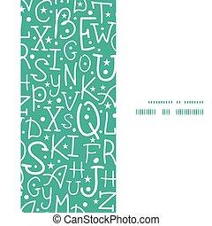 lettere, verticale, alfabeto, cornice, seamless, vettore, sfondo verde, modello, bianco