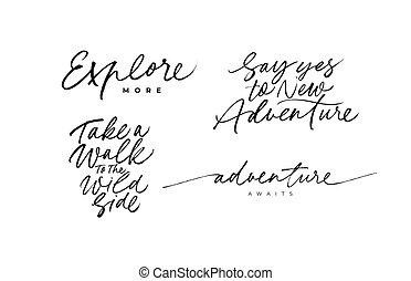 lettering., avventura, citare, viaggiare, vettore