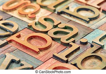 letterpress, legno, tipo, astratto