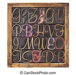 letterpress, legno, tipo, blocchi