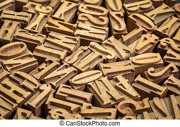 letterpress, legno, tipo, blocchi, stampa