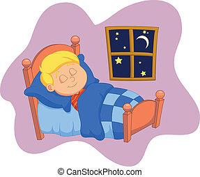 letto, era, addormentato, ragazzo, cartone animato