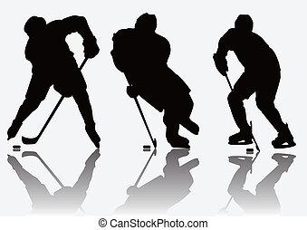 lettori, silhouette, hockey, ghiaccio