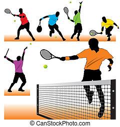 lettori, silhouette, tennis, set, 6