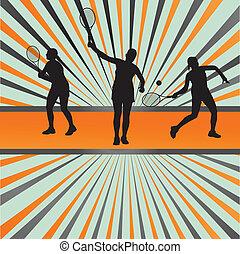 lettori, silhouette, vettore, fondo, tennis