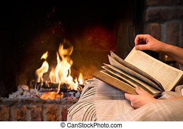 lettura, caminetto, libro