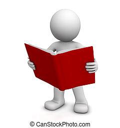 lettura, carattere, libro, 3d