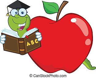 lettura, libro scuola, mela, verme