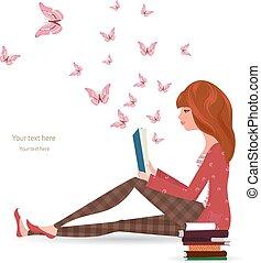 lettura, ragazza, libro, carino
