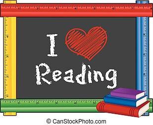 lettura, righello, amore, cornice