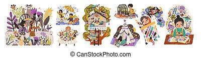 lettura, tales., imagination., caratteri, riparo, bambini, costruzione, vettore, infantile, mondo, appartamento, infanzia, bambini, illustrazioni, giochi, gioco, disegno, set., cartone animato, fare un sogno, fata, activities.