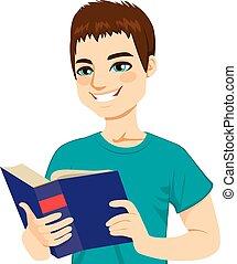 lettura, uomo, godere