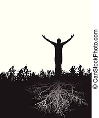 leva piedi, pacifico, figura, fermamente, gratitude., radicato