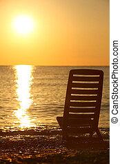 leva piedi, tramonto, sera, durante, sedia, vuoto, sea-shore, lateralmente